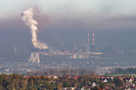 Steel mill in heavy smog, air pollution near Krakow, Poland Stock Photo