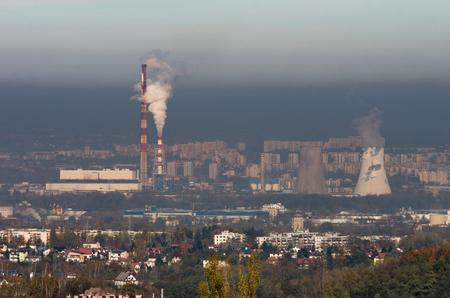 Power plant in heavy smog, air pollution in Krakow city, Poland