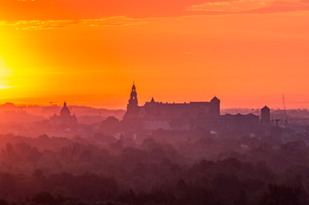 Krakow, Poland, Wawel castle silhouette at sunrise Stock Photo