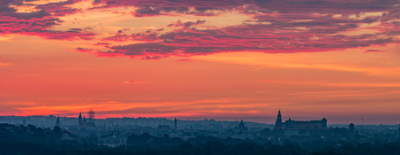 Krakow, Poland, Wawel castle and old city at colorful sunrise