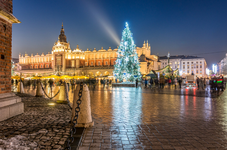 Krakow, Poland, Christmas tree on Main Market square