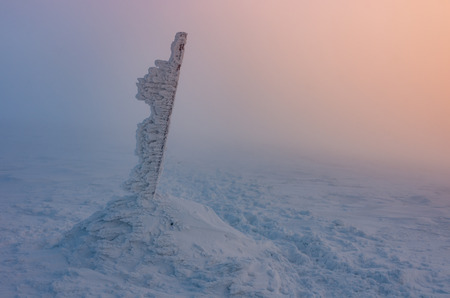 Winter landscape - frost formations on the top of the Babia Gora mountain