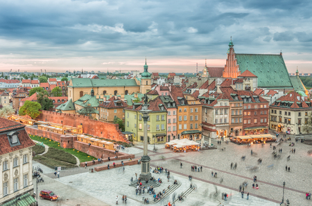 Warsaw, Poland, panorama of old city with Castle square, king Sigismund statue and st. John cathedral