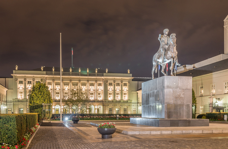 Poland, Warsaw, Presidential Palace and Prince Poniatowski Statue Editorial