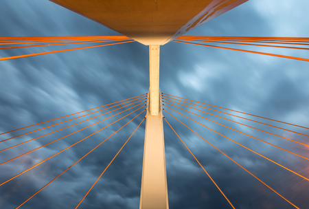 Superstructure of the cable stayed bridge, cables and pylon