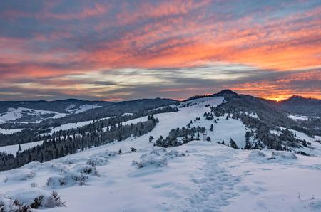 Poland landscape, sunrise in Pieniny mountains seen from Wysoki Wierch