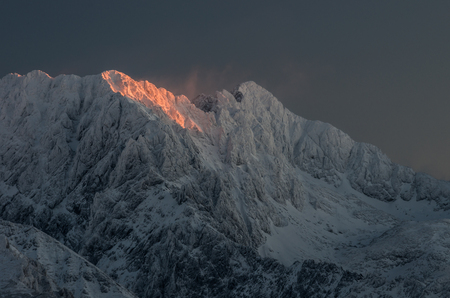 winter Tatra mountains panorama, Mala High and Swish Peak peaks Stock Photo
