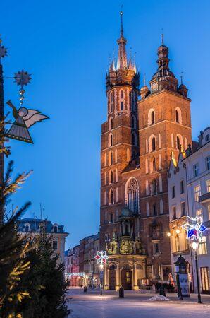 Krakow, Poland, St Mary's church and Christmas decorations