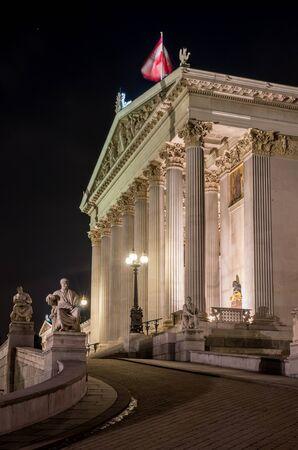 Austria, Vienna, parliament building in the night