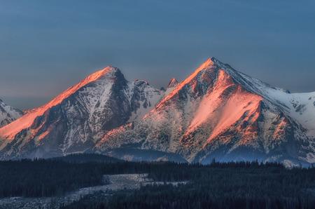 Sunrise in winter Tatra mountains, Poland, Slovakia Stock Photo