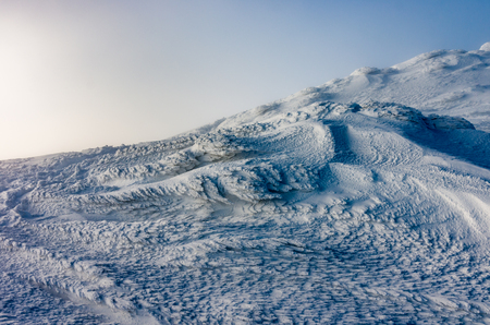 Snow formation created by the wind, mountain landscape