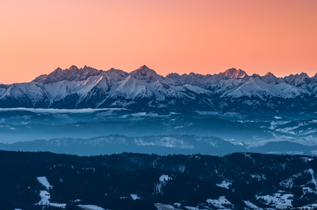 Tatra mountains in winter, view from Gorce, Poland