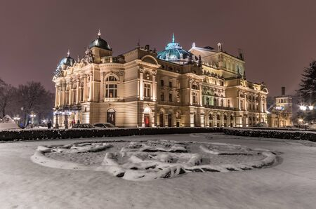 Krakow, Poland, night winter view of city theater Editorial