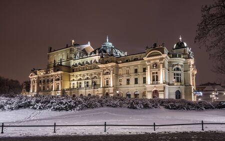 Krakow, Poland, night winter view of city theater Stock Photo