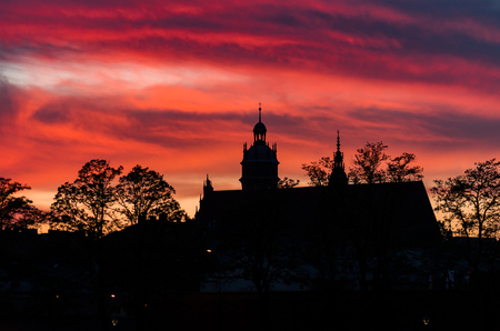 Krakow, Poland, evening sky over Corpus Christi church Stock Photo