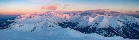 Winter sunset panorama, Tatra mountains landscape, Poland Slovakia