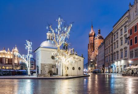 Krakow, Poland, Main Market Square and Christmas decoration, winter night Stok Fotoğraf