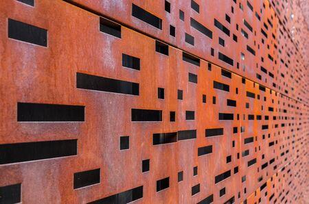 Walling panel made of weathering steel sheets (corten steel)