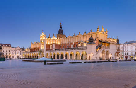 Main market square  and Cloth Hall in the night, Krakow, Poland