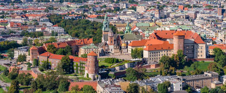 Krakow, Poland, aerial view of the Wawel Castle and Old City