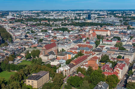 Krakow, Poland, aerial view of the Kazimierz district (former Jewish district) 스톡 콘텐츠