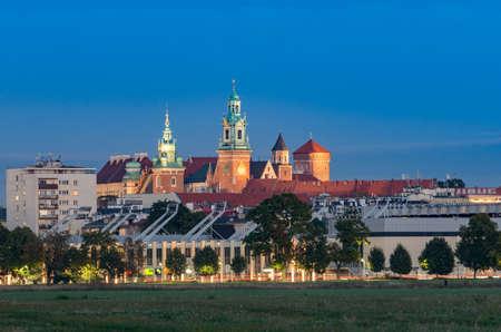 Wawel Castle Krakow, Poland, seen from Blonia meadow