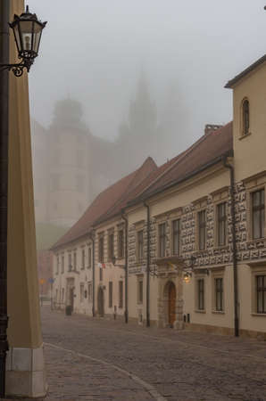 Krakow old town, Kanonicza street in the morning mist