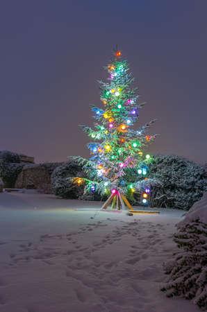 Colorful illuminated Christmas tree on snow at night, Wawe castle, Krakow, Poland