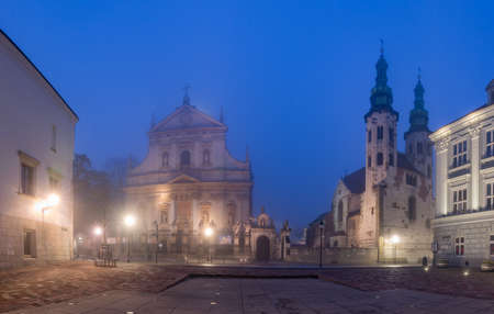 Krakow old town Kanonicza street panorama in the night