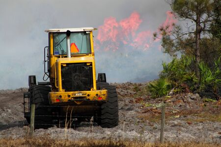 controlled: Yellow Florida forestry service earth moving equipment stands by at the start of a controlled fire after having just cleared fire breaks.