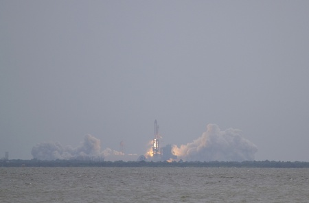 8 JULY 2011: Kennedy Space Center, FL: Space Shuttle Atlantis leaves the pad, heading for the International Space Station on the last mission and last flight of the US Space Shuttle Fleet (STS-135). Stock Photo - 10007112