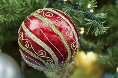 commercialization: Decorative Christmas bulb hanging on a faux pine tree in anticipation of the December holiday.