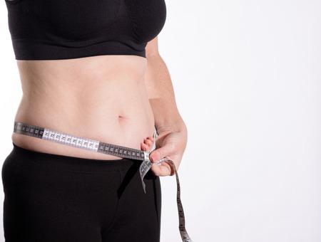 bulge: Woman Belly Bulge Side View Metric Measuring Tape