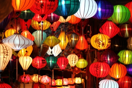 Colored vietnamese silk lanterns Stock Photo