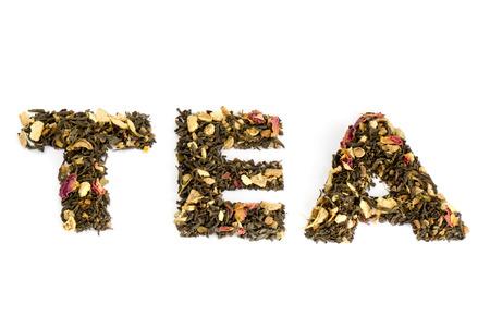 Die mit Tee geschriebene Wort Tee Standard-Bild - 26372104