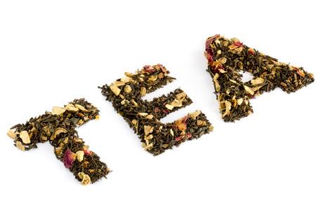 Die mit Tee geschriebenes Wort Tee Standard-Bild - 26372106
