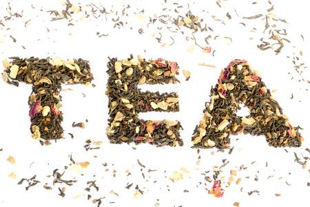 The word tea spelled with tea  Standard-Bild