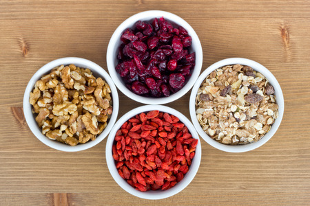 cranberry: Breakfast muesli, goji berries, walnuts, berries