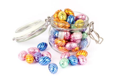 Chocolate easter eggs in a preserving jar Standard-Bild
