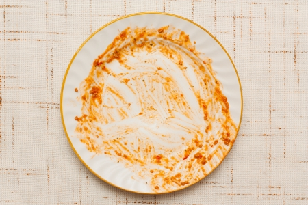 dirty dishes: A dirty dish on the table.