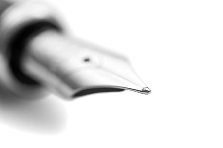 nib: The nib of a fountain pen - close-up. Stock Photo