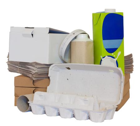 reciclable: Una variedad de papel reciclable objetos aislados en blanco. Foto de archivo