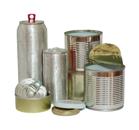 waste products: A variety of recyclable metal objects isolated on white.