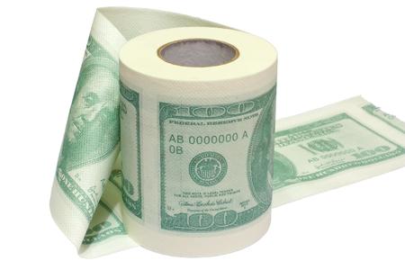 papel higienico: Dólar rollo impreso de papel higiénico aislado en blanco.