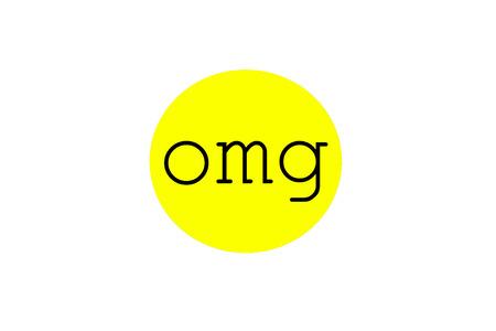 abbreviated: Omg illustrazione del segno a forma di bolla circolare di colore giallo brillante, isolato su sfondo bianco.