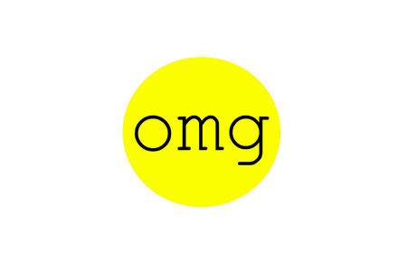 abbreviated: Omg sign illustration in a bright yellow circular bubble shape, isolated on white background. Stock Photo