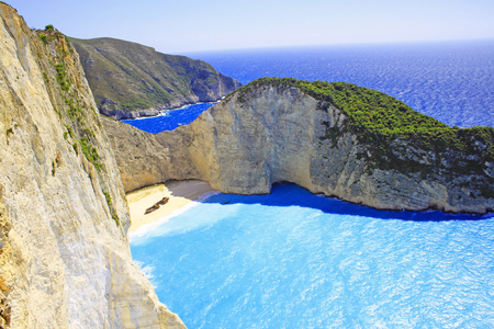 Ship Wreck beach and Navagio bay. The most famous natural landmark of Zakynthos, Greek island in the Ionian Sea Stock Photo