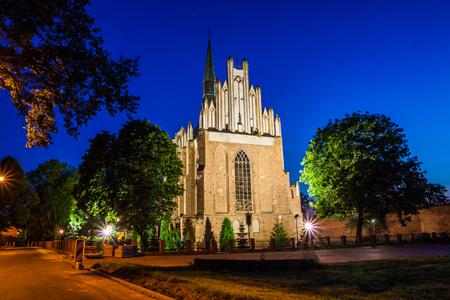 Medieval Fara Church in Swiecie at night, Poland