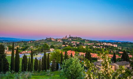 San Gimignano town skyline and medieval towers. Tuscany, Italy, Europe. Stock Photo