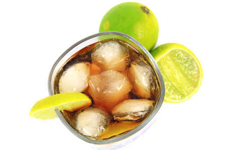 Fresh cocktail with cola drink and lime fruit